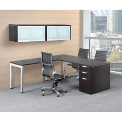 Modern Executive L-Desk with Overhead Storage