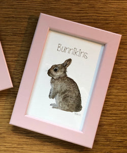 Childrens framed prints - Bunnikins, pink frame