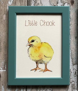 Childrens framed prints - Little Chook, teal frame