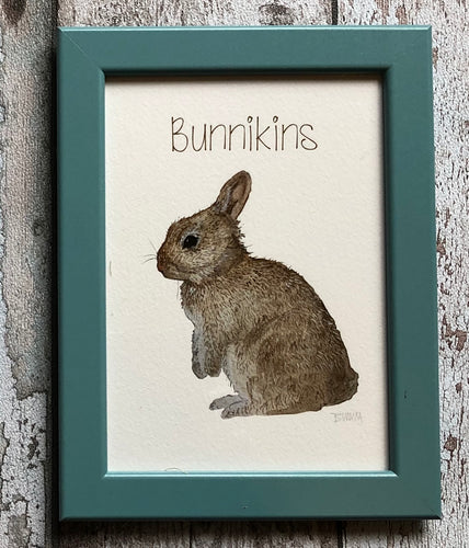 Childrens framed prints - Bunnikins, teal frame
