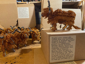 Beaded Highland Cow - Hand crafted.