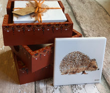Load image into Gallery viewer, Ceramic Coasters in Hand Painted Box - Hedghog