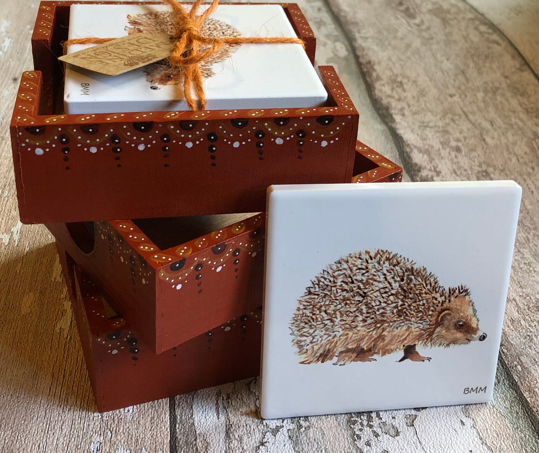 Ceramic Coasters in Hand Painted Box - Hedghog