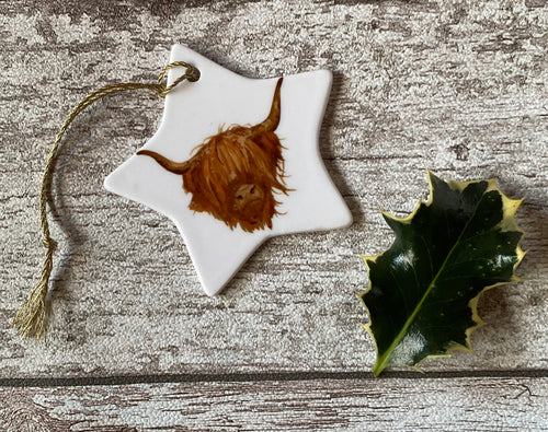 Christmas Star - Highland Cow