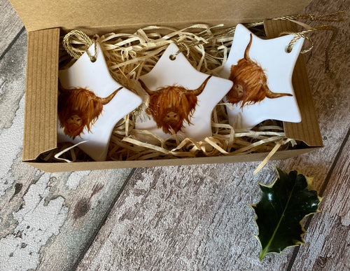 Christmas Star - Highland Cow (boxed set of 3)