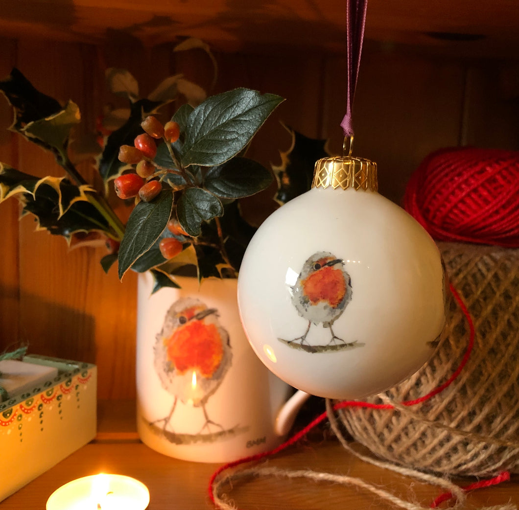 Bone China Christmas Bauble - Robin