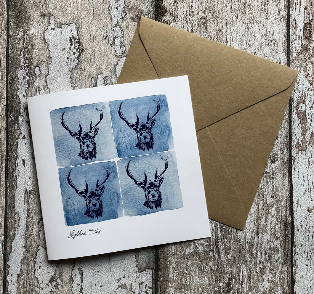 Greeting Card - Highland Stag, Blue
