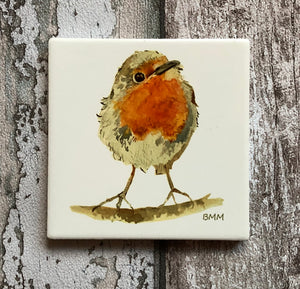 Ceramic Coaster - A Curious Wee Robin