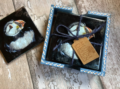 Ceramic Coasters in Handpainted box - Nesting Puffin