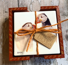 Load image into Gallery viewer, Ceramic Coasters in Handpainted box - Puffins