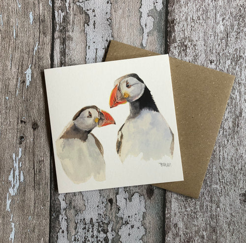 Greeting Card - Puffins