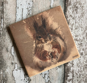 Matte Ceramic Coaster - Red Squirrel in the Snow