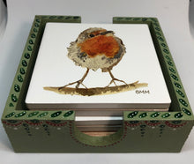 Load image into Gallery viewer, Ceramic Coasters in Handpainted box - Robin