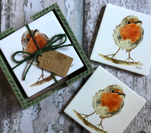 Ceramic Coasters in Handpainted box - Robin