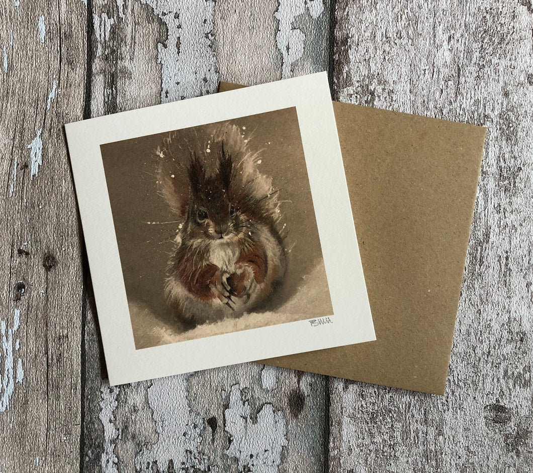 Greeting Card - Red Squirrel in the Snow