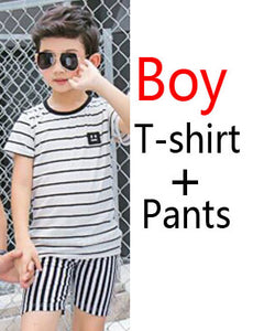 872024e90dfc5 Mother Daughter Dresses Family Matching Outfits Striped Father and Son T  shirt and Pants Family Clothes