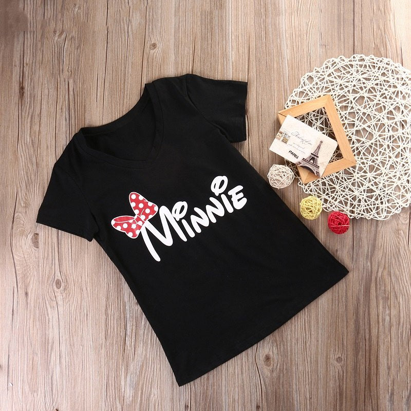 ab70e76a7bfe9 ... Emmababy Family Matching T-shirts Clothes Mother Daughter Cotton Tops  mouse Shirt Short Sleeve Women ...