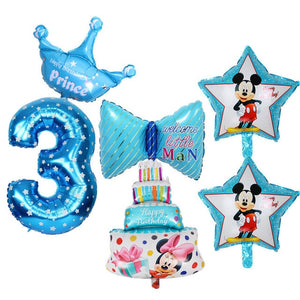 6pcs Kids 3rd Birthday Party Decoration Foil Balloons Number ...