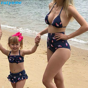 af9003b77471a Mother&Kids Swimwear Family Matching Mommy And Me Beach Outfits Ice Cream  Printed Swimsuits For Mother Daughter Bikini Bathing