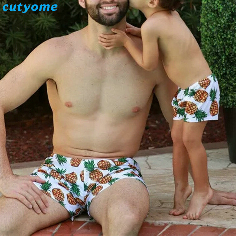 6cffbf4b46 ... Mother Daughter Father Son Matching Swimsuits Pineapple Bikini Shorts  Family Swimwear Outfits Mommy And Me Dad ...