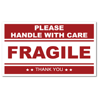 Fragile Sticker, 5 x 3, roll of 500 - Boxes To Go