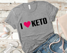 Load image into Gallery viewer, I Heart Keto Short-Sleeve Unisex T-Shirt (Black print)