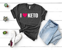 Load image into Gallery viewer, I Heart Keto Short-Sleeve Unisex T-Shirt (White print)