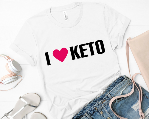 I Heart Keto Short-Sleeve Unisex T-Shirt (Black print)
