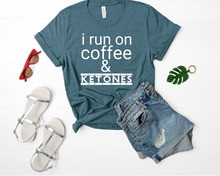 Load image into Gallery viewer, I Run On Coffee And Ketones Short-Sleeve Unisex T-Shirt (White print)