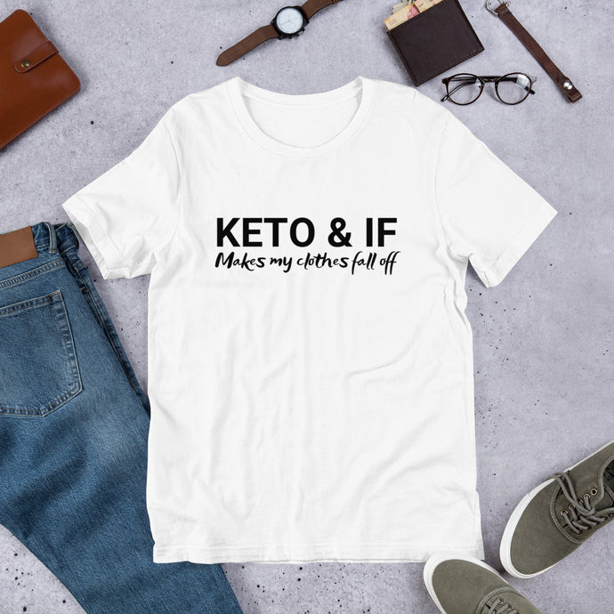Keto & IF Makes My Clothes Fall Off Short-Sleeve Unisex T-Shirt (Black print)