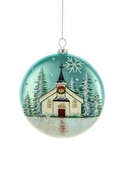 Blue Hanging Snowy Church Round Ornament Jj S Holiday Gifts Decor