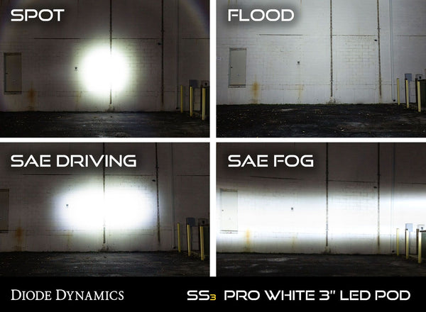 "Diode Dynamics Stage Series 3"" SAE/DOT White Pro Flush Mount LED Pod (pair)"