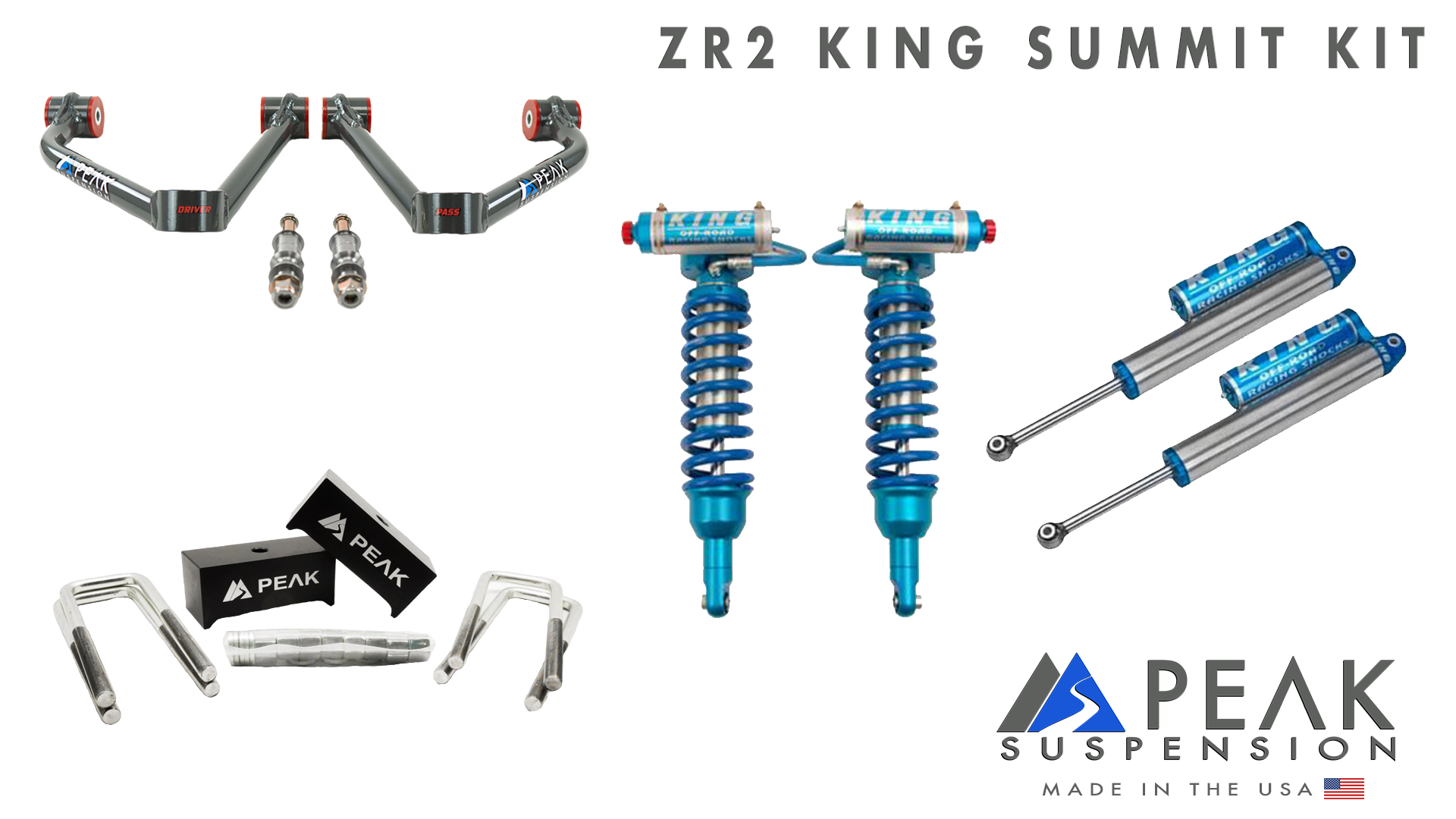 "King Shocks 2.5"" Summit Kit with Delta Joint Arms [17+ Colorado ZR2]"