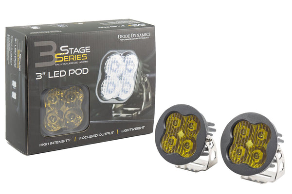 "Stage Series 3"" SAE/DOT Yellow Pro Round LED Pod (pair)"