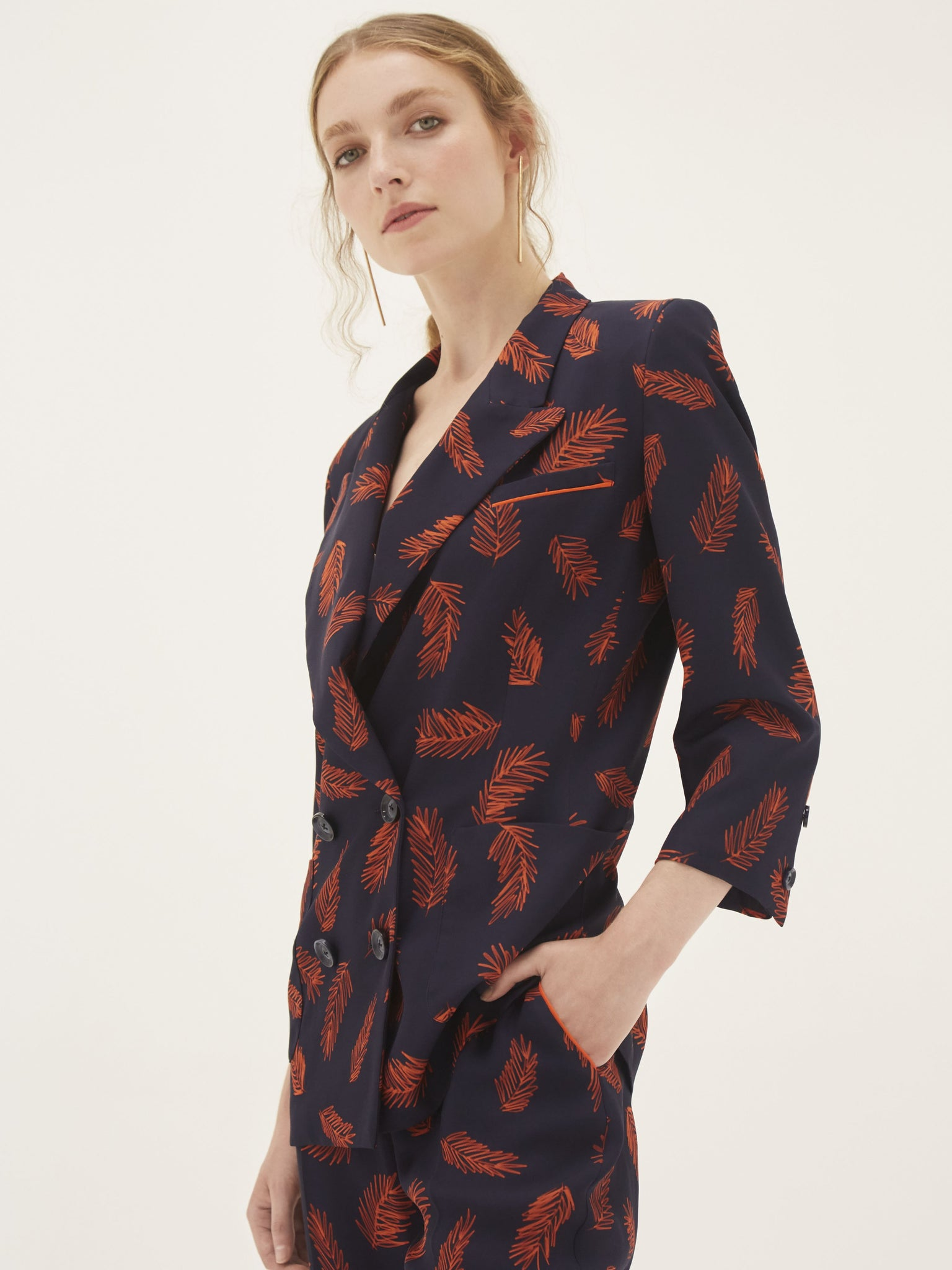 Double Breasted Blazer - Signature Manuka Feather Print