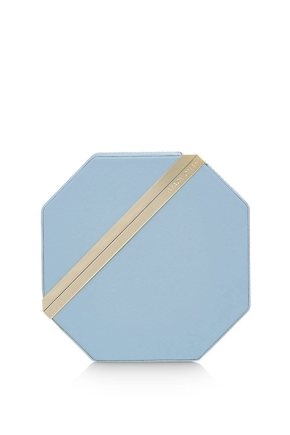 New Imogen Clutch Bag in Powder Blue Saffiano Leather