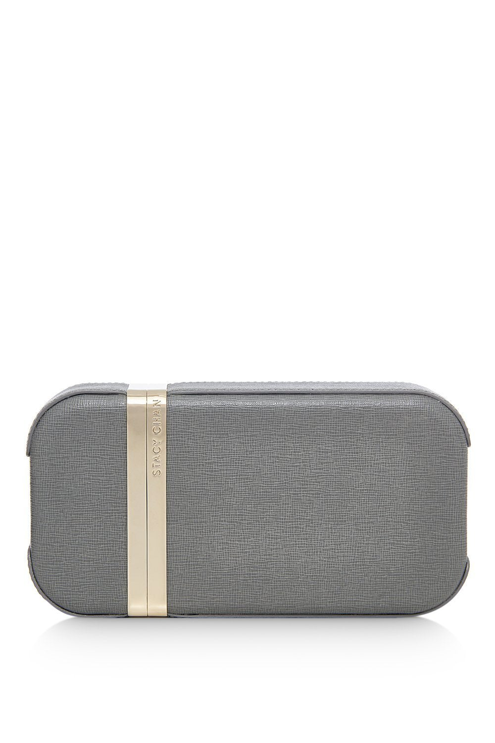 New Sophie Clutch Bag in Grey Saffiano Leather