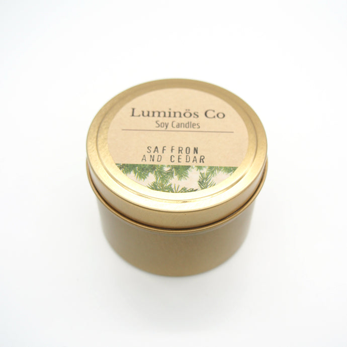 SOY CANDLE - Saffron and Cedar (Gold Tin)