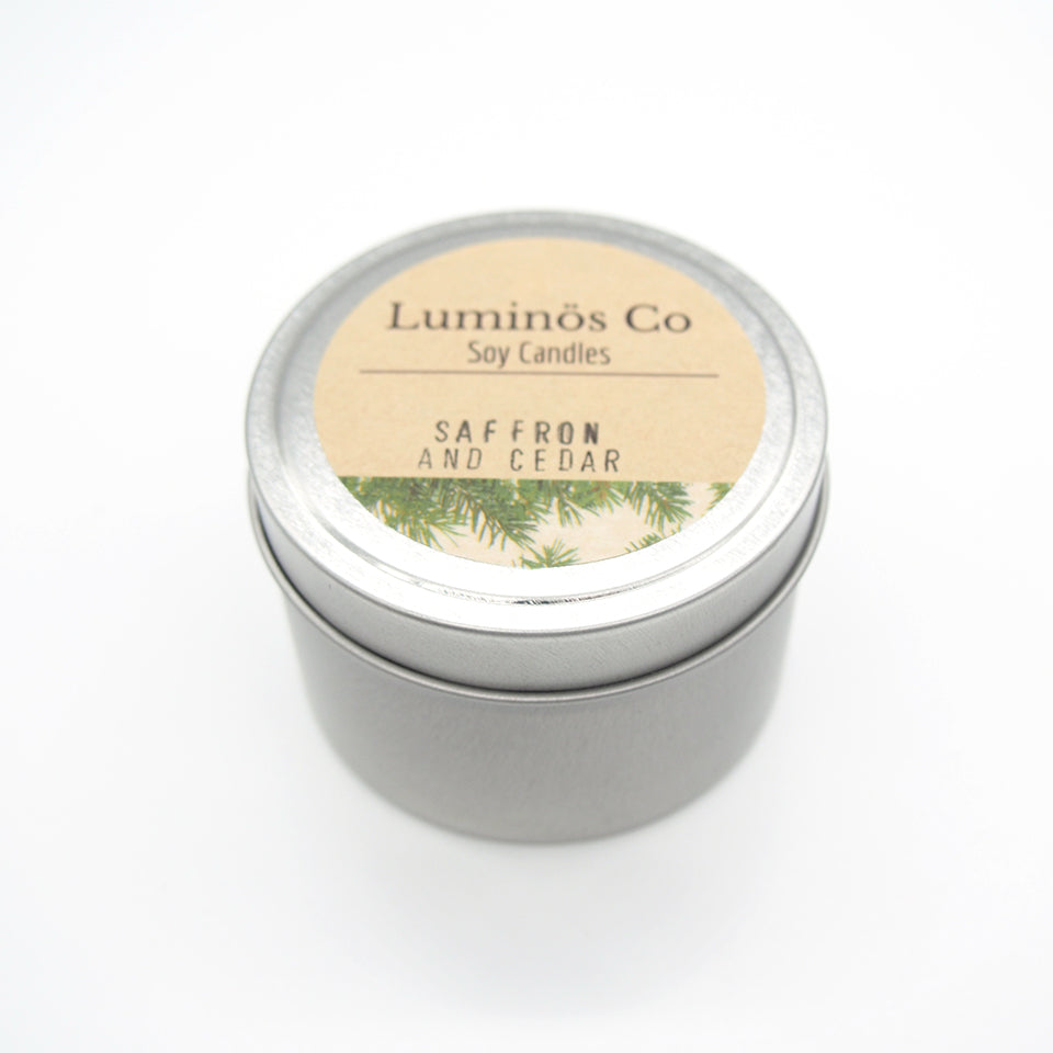 SOY CANDLE - Saffron and Cedar (Silver Tin)