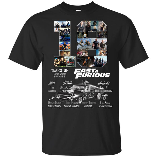 18 Years Of Fast And Furious 2001-2019 Shirt
