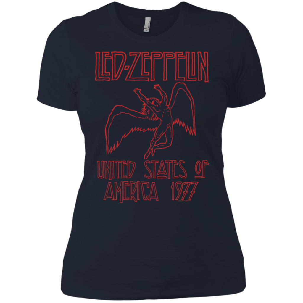 Led Zeppelin USA 1977 Red Lettering Ladies Premium T-Shirt