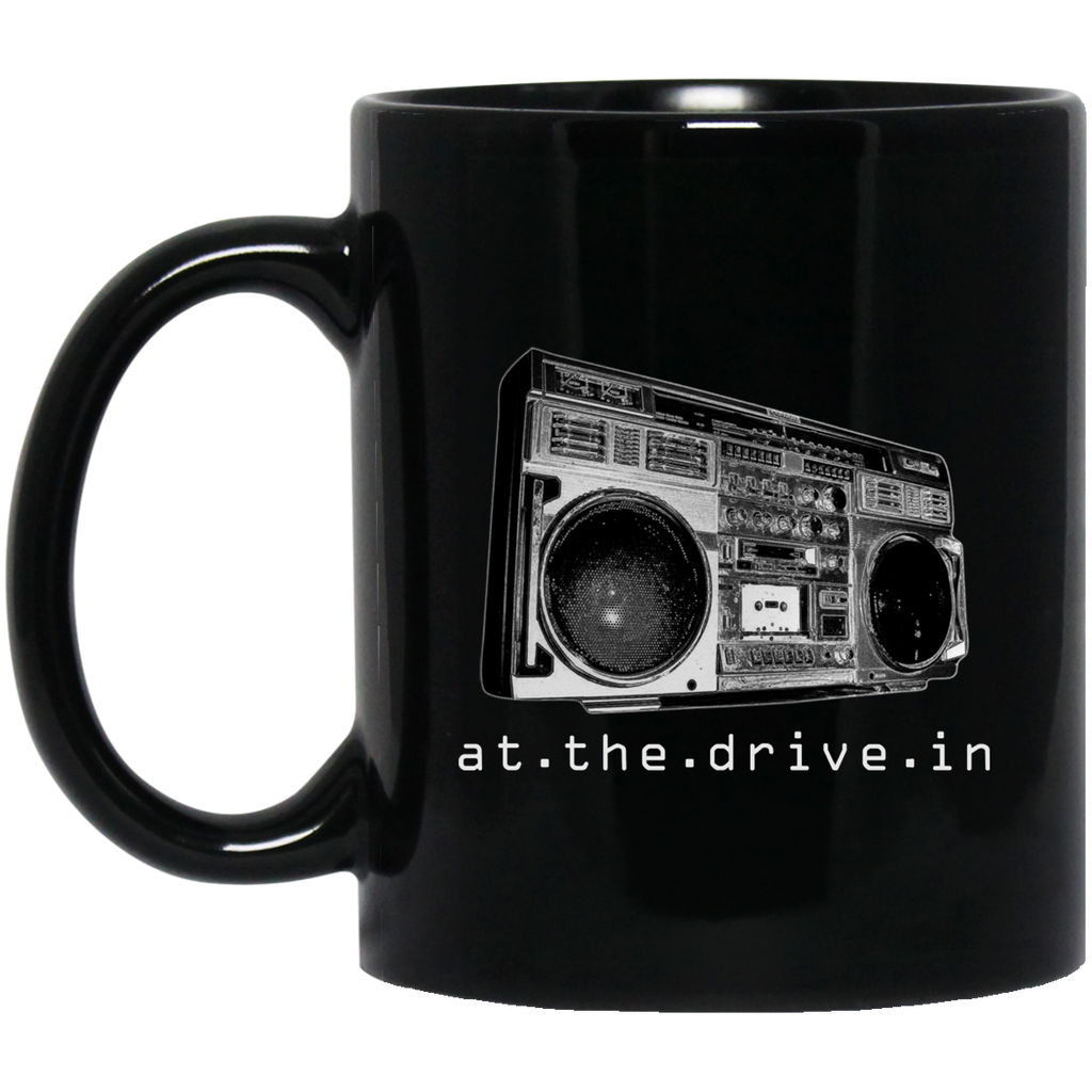 At The Drive In T Shirt Boombox Band Logo Black Mug