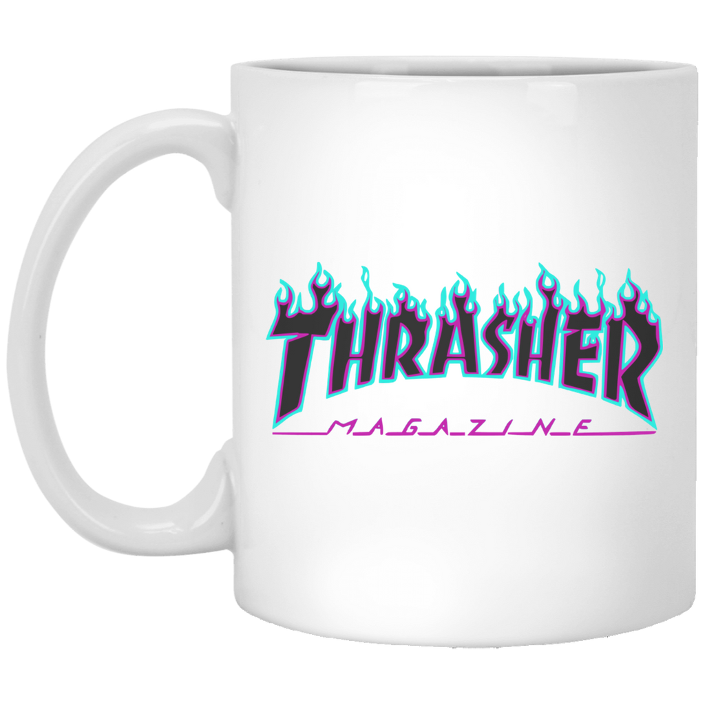 Thrasher puple flame Logo White Mug
