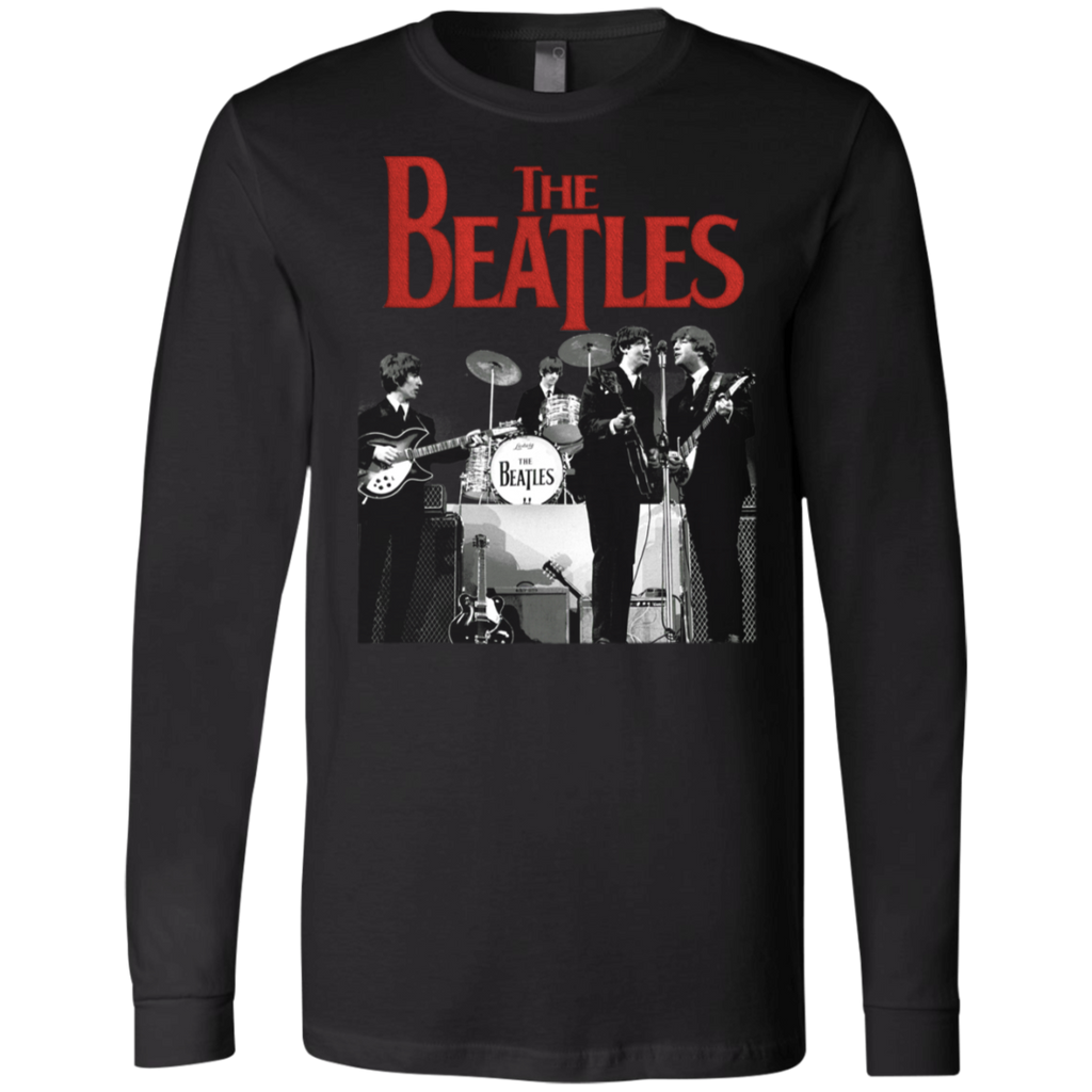 Beatles Men's Stage Photo Logo Canvas Long Sleeves T-Shirt