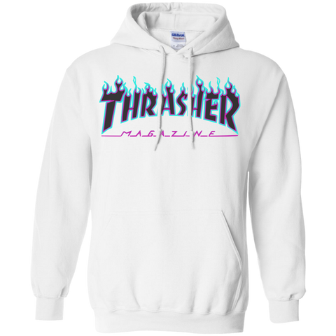 Thrasher puple flame Logo Pullover Hoodie