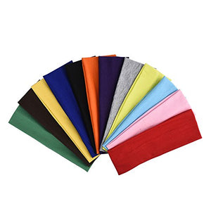 eBoot 12 Pcs Stretch Elastic Yoga Cotton Headbands Mixed Colors for Teens, Girls and Women