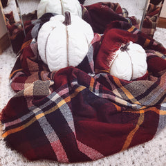 pumpkins in red plaid scarf