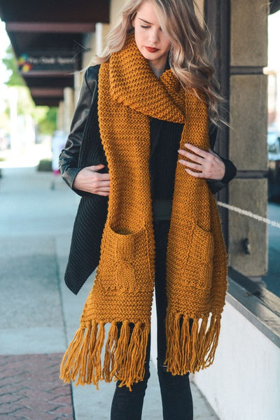 Deep Thoughts Oversized Knit Scarf with Pockets - Mustard