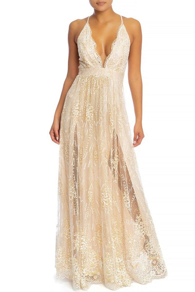Sun Chaser Glitter Maxi Gown (Gold & White)