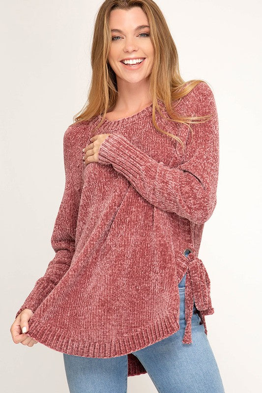 Sweater Weather Coral Chenille Sweater
